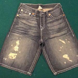 Men's True Religion Distressed Jean Shorts (34)